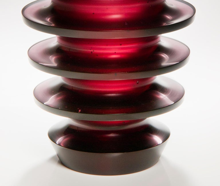 Contemporary Leila, a unique dark purple / blackberry coloured glass vase by Paul Stopler For Sale