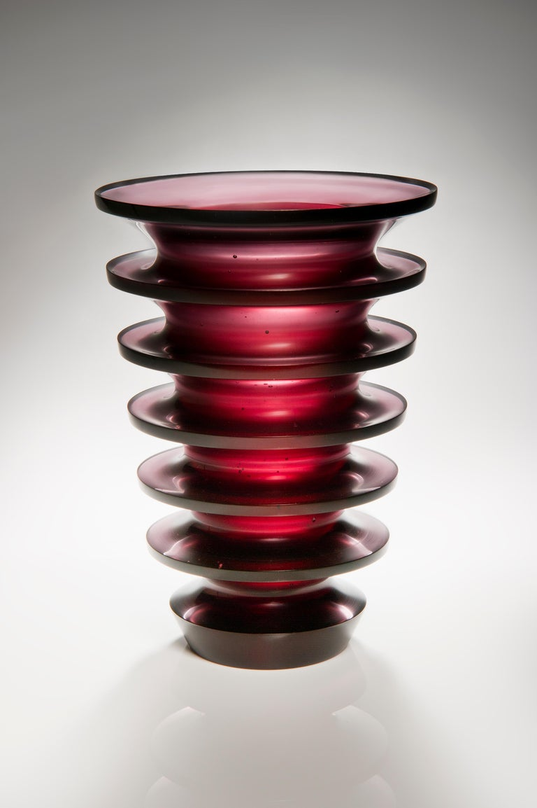 Glass Leila, a unique dark purple / blackberry coloured glass vase by Paul Stopler For Sale