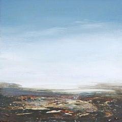Coast II - contemporary acrylic painting on board, landscape coastline, framed