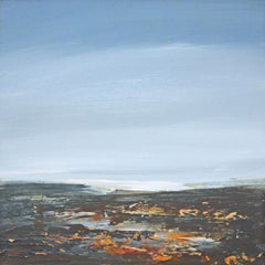 Coast III - contemporary acrylic painting on board, landscape coastline, framed