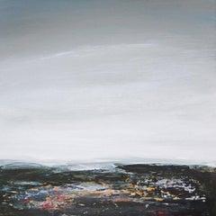 Coast IV - contemporary acrylic painting on board, landscape coastline, framed