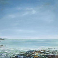 Edge of the Ocean-contemporary blue and grey seascape painting acrylic on canvas