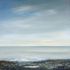 The Pool - contemporary acrylic painting on board, landscape sea sky coastline