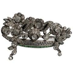 Leitão & Irmão Art Deco Diamond Emerald Giardinetto Brooch Silver Gold, 1940s