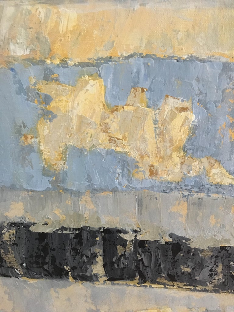 Where Angels Come To Play - Gray Abstract Painting by Leith Ridley