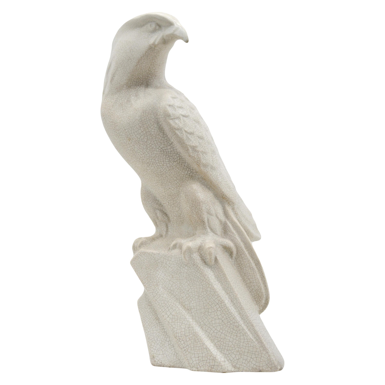 LEJAN French Art Deco Crackle Glaze Ceramic Eagle Sculpture at Orchies's, 1930