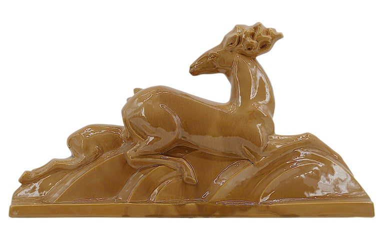 Antelopes by Lejan, France, 1930s. Ceramic. Successful aesthetic shape, for a model that very rarely appears on the marketplace. Measures: Width: 24