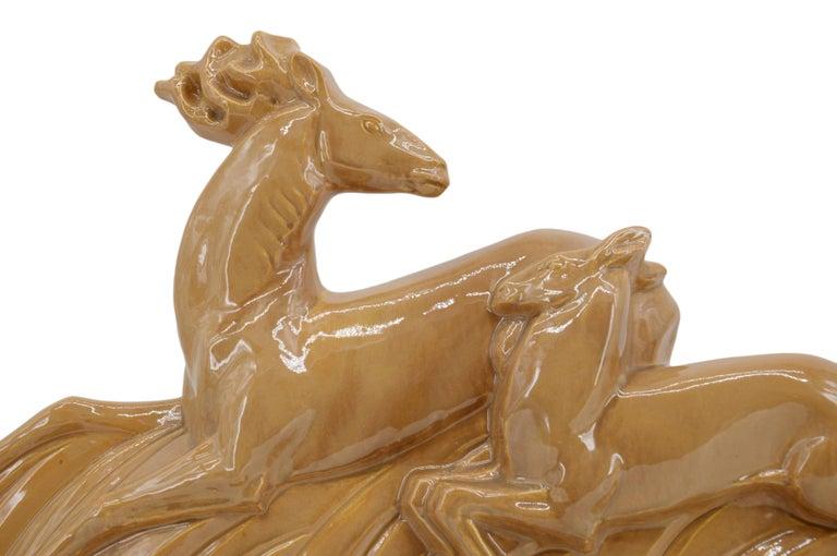 Mid-20th Century Lejan Large French Art Deco Ceramic Antelopes Sculpture, 1930s For Sale