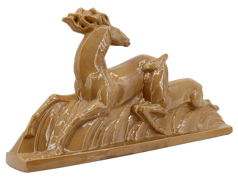 Lejan Large French Art Deco Ceramic Antelopes Sculpture, 1930s For Sale 1