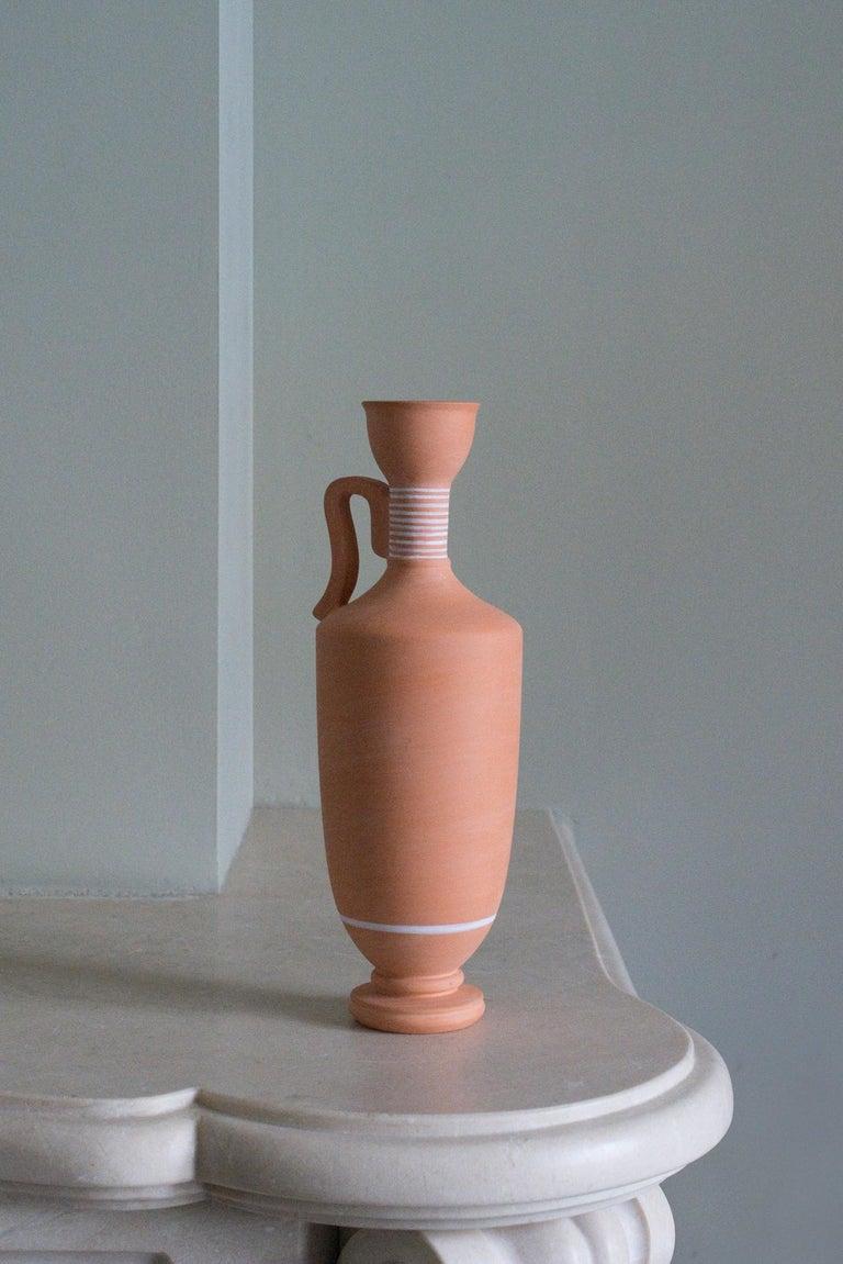 Classical Greek Lekythos, Decorated Terracotta one flower Vase, Greek ceramic Inspiration For Sale