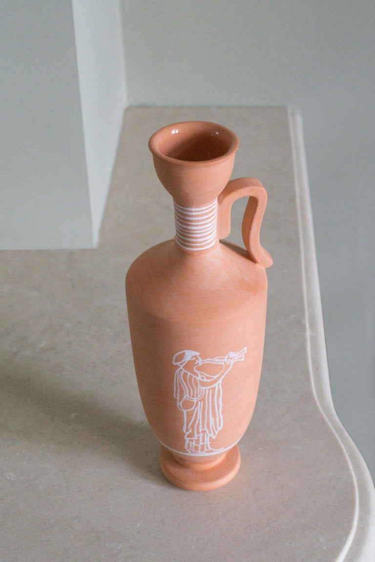 Hand-Crafted Lekythos, Decorated Terracotta one flower Vase, Greek ceramic Inspiration For Sale