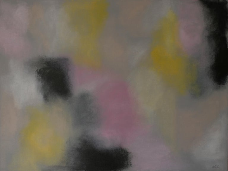 Lela Altman Abstract Painting - untitled pink, grey and yellow no. 1, Painting, Acrylic on Canvas