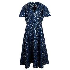 Lela Rose Blue Black Metallic Brocade Shortsleeve V-Neck Dress sz XL