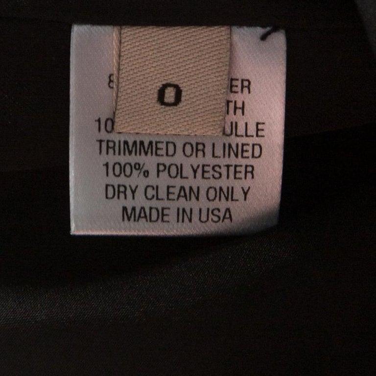 Lela Rose Monochrome Lurex Ikat Patterned Jacquard Sheer Yoke Sleeveless Gown XS For Sale 1