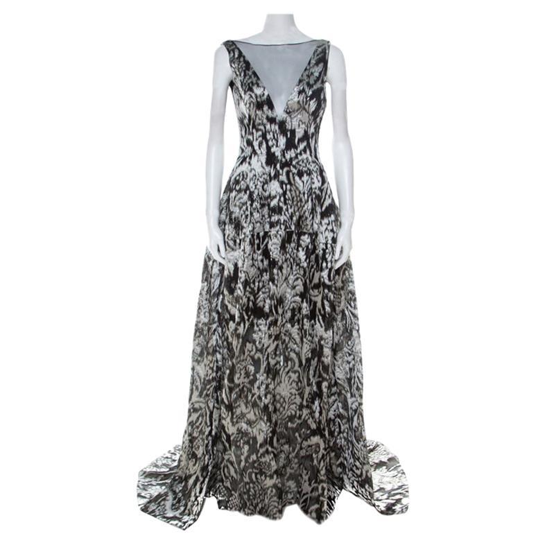 Lela Rose Monochrome Lurex Ikat Patterned Jacquard Sheer Yoke Sleeveless Gown XS