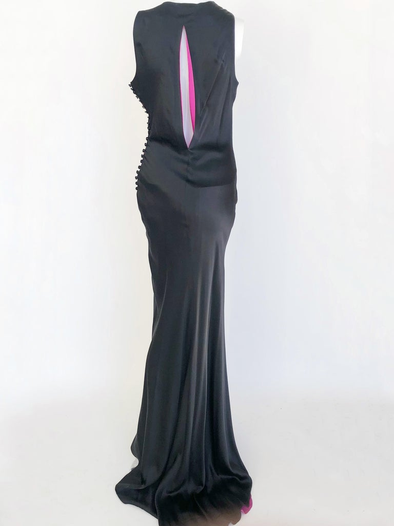 Black Lela Rose satin gown with fuchsia lining.  For Sale