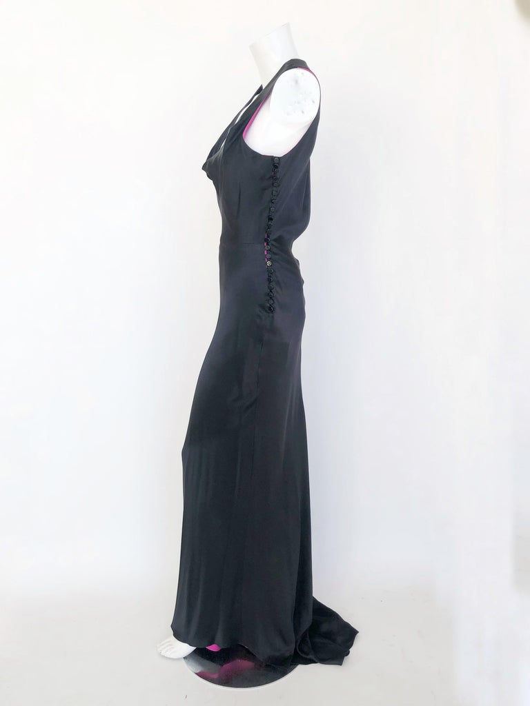 Women's Lela Rose satin gown with fuchsia lining.  For Sale