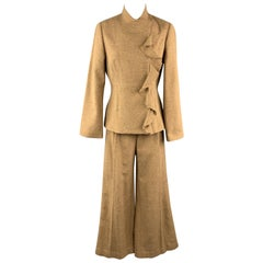 LELA ROSE Size 8 Tan Wool Blend Ruffled Pleated Wide Leg Pants Set