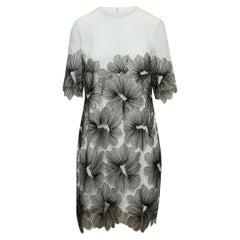 Lela Rose White & Black Floral Patterned Dress