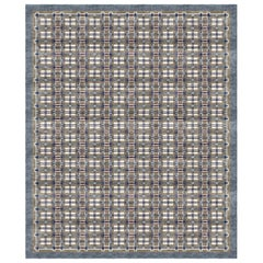 Leleu Chivarly Grey - Patterned Interesting Hand Knotted Wool Silk Rug