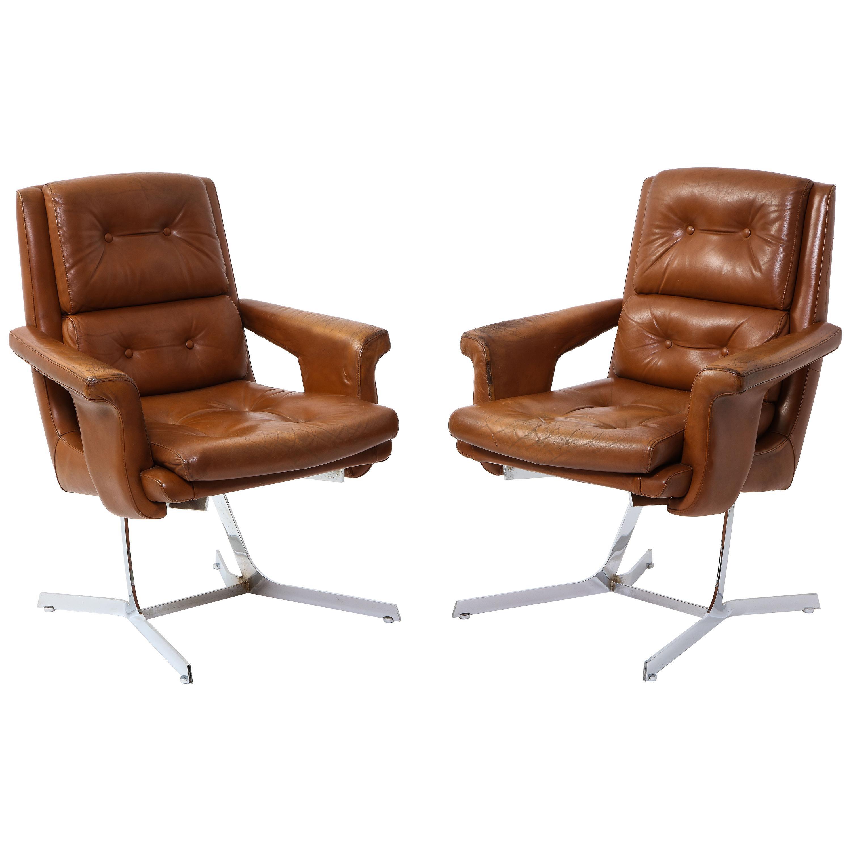 Leleu-Deshaye Leather and Chrome Armchairs