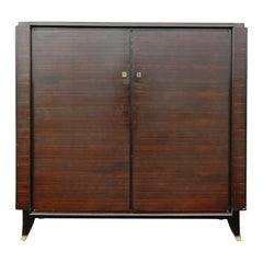 Leleu Style Art Deco Low Rosewood and Gilt Brass Armoire, circa 1930