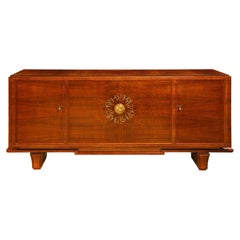 Leleu Style Incredible 4 Door Credenza with Pewter and Bronze Ribbon Inlay 1940s