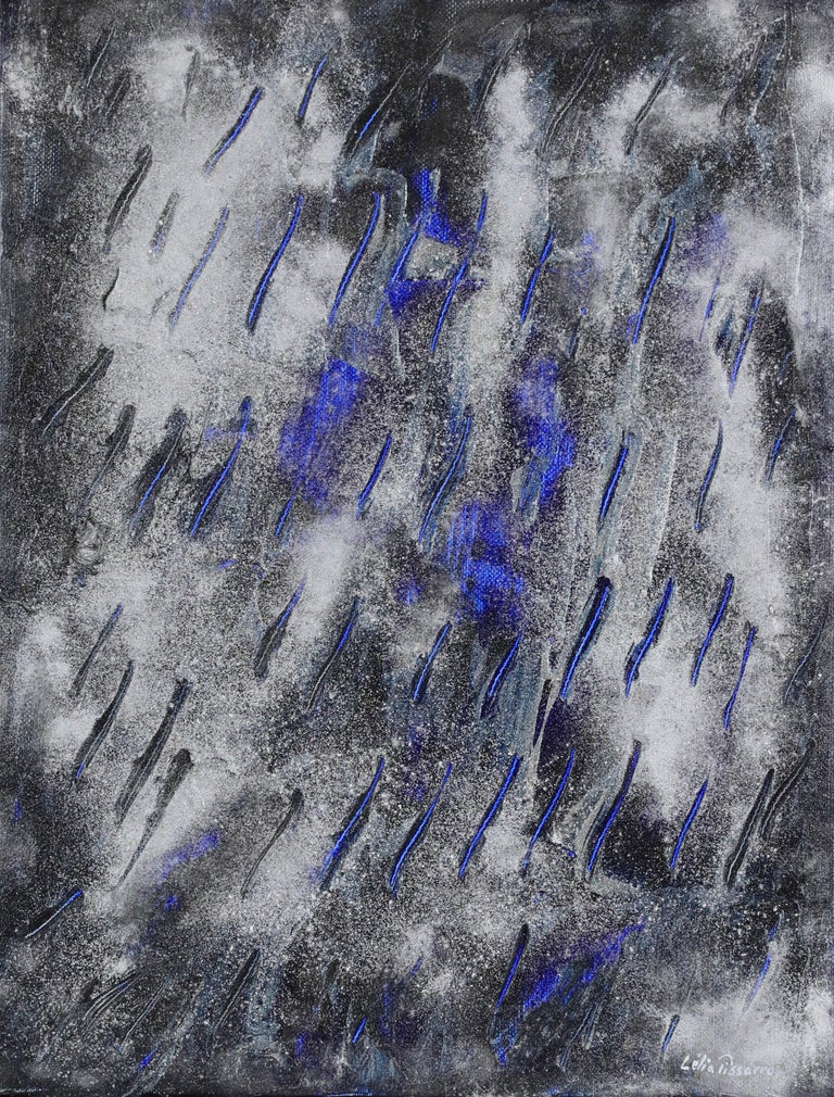 Abstract silver, black and blue painting titled Fourmis, 2009 by Lélia Pissarro - Painting by Lelia Pissarro