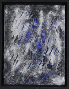 Abstract silver, black and blue painting titled Fourmis, 2009 by Lélia Pissarro