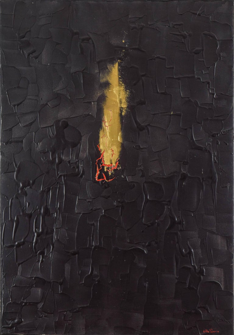 Burning Desire by LÉLIA PISSARRO (b. 1963)  Acrylic, red pigment and gold powder on canvas 100 x 70 cm (39 3⁄8 x 27 1⁄2 inches) Signed lower right Lélia Pissarro Titled Burning desire twice on the reverse, signed Lélia Pissarro, dated May 08 –