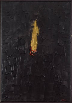 Burning Desire by Lélia Pissarro - Abstract painting, acrylic and gold powder