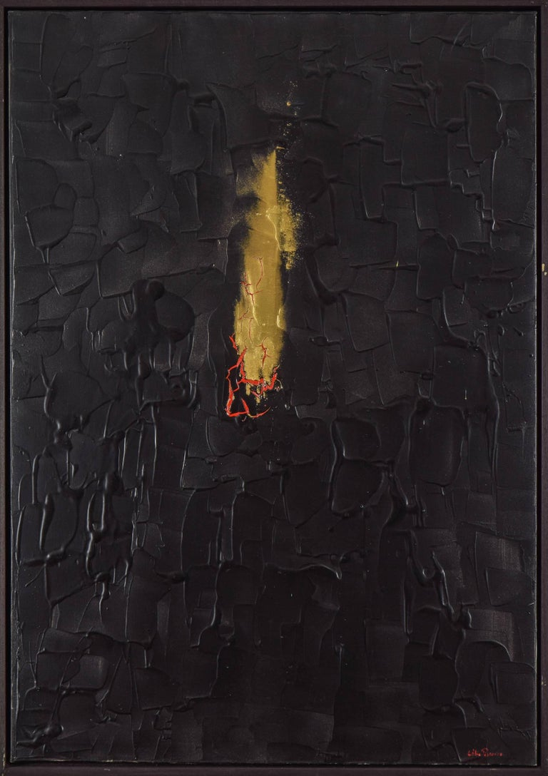 Burning Desire by Lélia Pissarro - Abstract painting, acrylic and gold powder - Painting by Lelia Pissarro