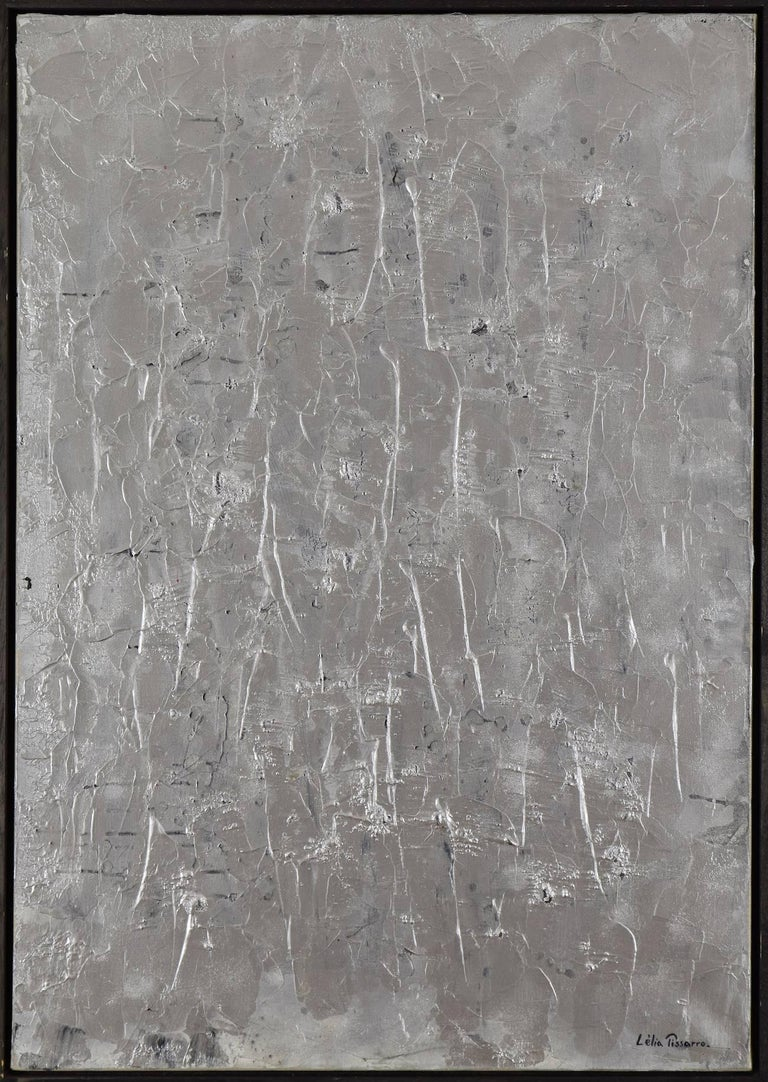 Lelia Pissarro Abstract Painting - Hyde Park Corner by Lélia Pissarro - Abstract silver painting, contemporary art