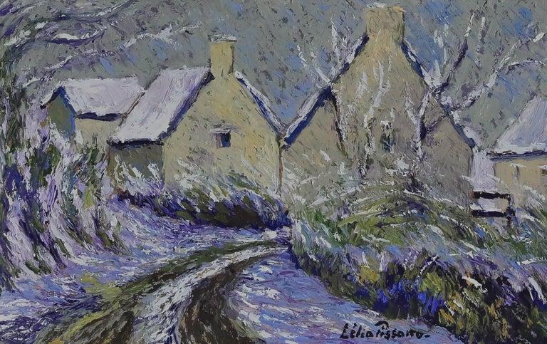 Landscape oil painting titled La Maison de Marise à Clécy  - Painting by Lelia Pissarro