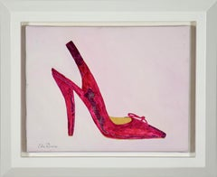 Pink shoe painting titled Paule Ka 3 by Lélia Pissarro, contemporary artist