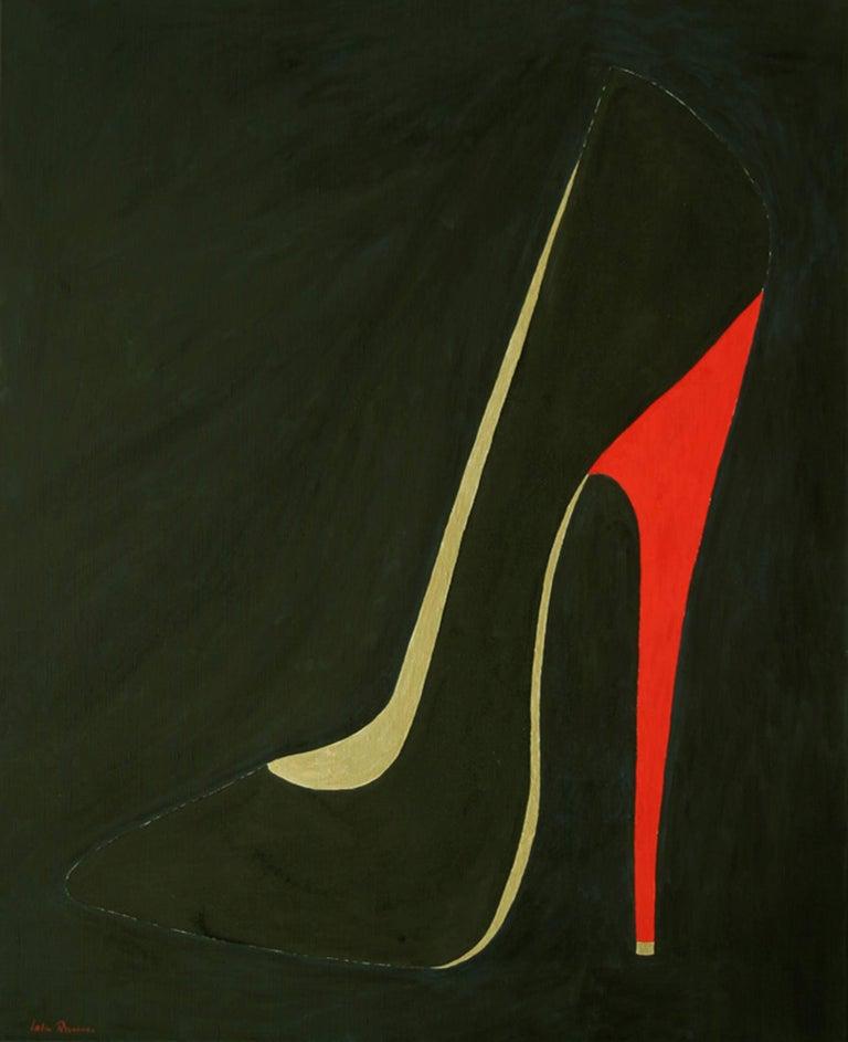 Lelia Pissarro Still-Life Painting - Shoe painting by contemporary artist Lélia Pissarro titled 'Stolen Kiss'