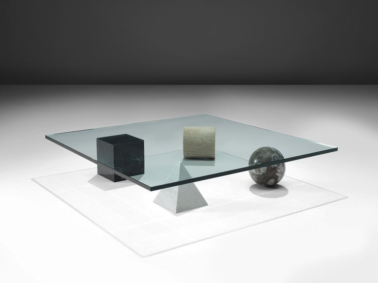 Lella and Massimo Vignelli sculptural 'Metaphora' coffee table in marble and glass  Lella and Massimo Vignelli, coffee table 'Metaphora', marble, stone, glass, Italy, 1979  Sculptural coffee table by Italian designers Lella and Massimo Vignelli.