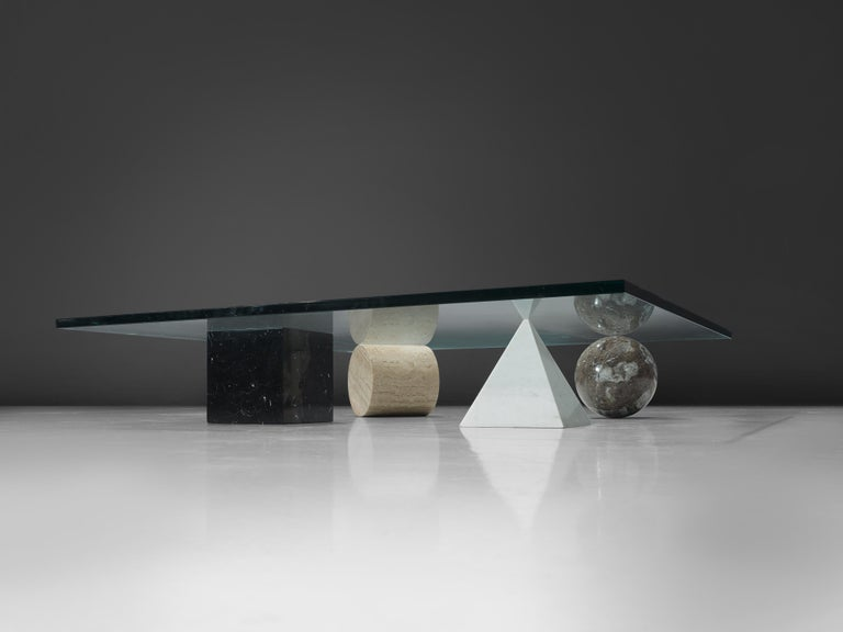 Italian Lella and Massimo Vignelli Marble 'Metaphora' Coffee Table in Marble and Brass For Sale