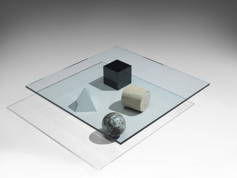 Lella and Massimo Vignelli Marble 'Metaphora' Coffee Table in Marble and Brass For Sale 1