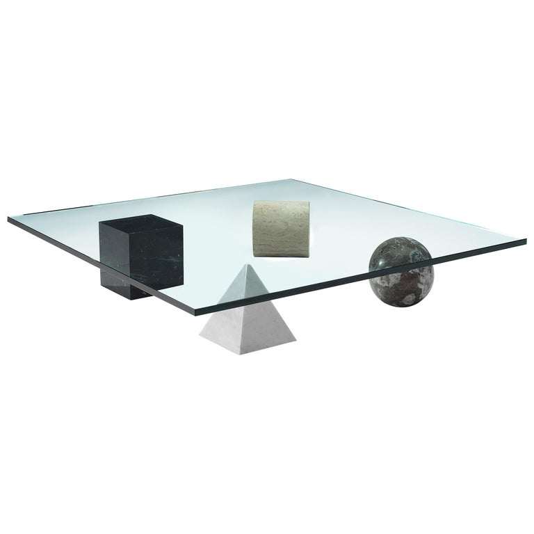 Lella and Massimo Vignelli Marble 'Metaphora' Coffee Table in Marble and Brass For Sale