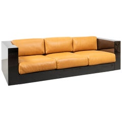 Lella and Massimo Vignelli Sofa Saratoga in Orange Leather Poltronova, 1964