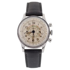Lemania Stainless Steel 15TL Chronograph Watch Tachymeter 1940s Leather Band