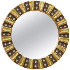 Lembo Attributed Ceramic Enameled Brown Gold Mirror, France, 1970s
