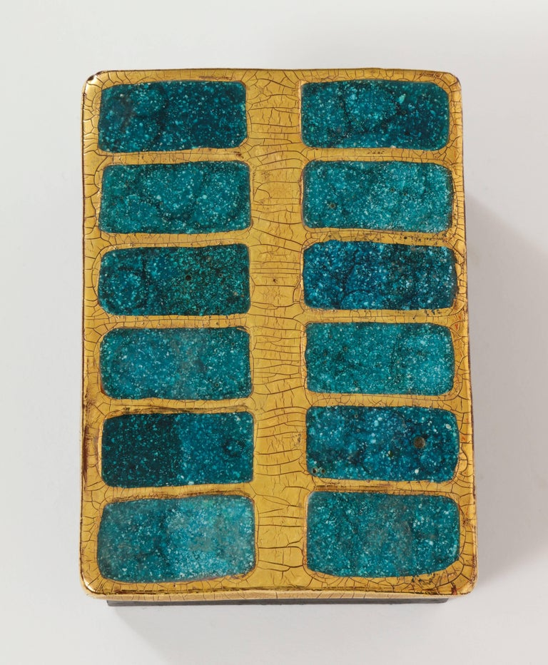 Mithe Espelt ceramic gold and blue enamel box, 1960