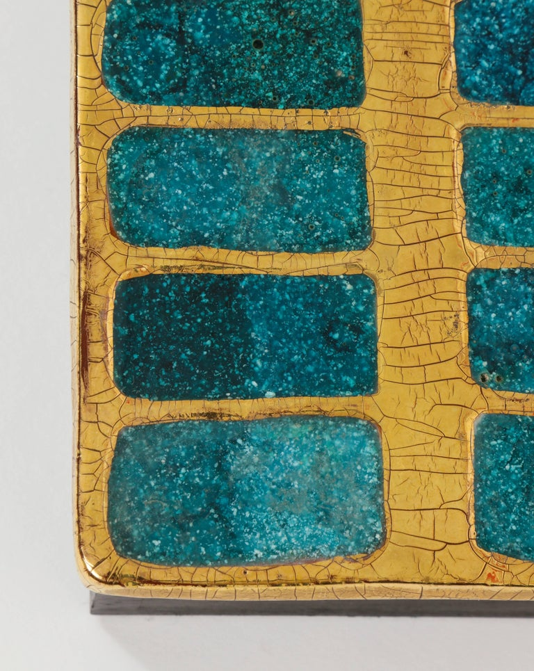 Mid-Century Modern Mithe Espelt Ceramic Gold and Blue Enamel Box, France, 1960 For Sale