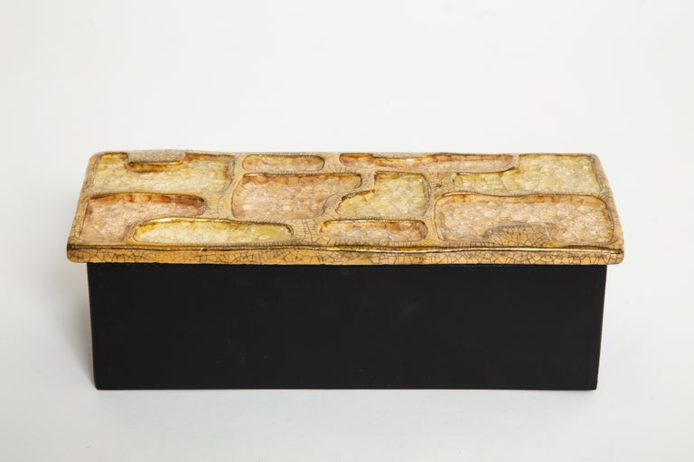 Enamel ceramic jewel box gold yellow midcentury, France, 1960s.  An exquisite ceramic enameled box with jewel encrusted sections and gold enamel. The base of the box is wood. A beautiful box to store jewelry or any other precious items.