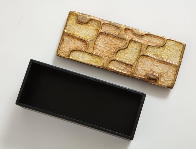 Enamel Ceramic Jewel Box Gold Yellow Lembo Style Midcentury, France, 1960s In Good Condition For Sale In New York, NY