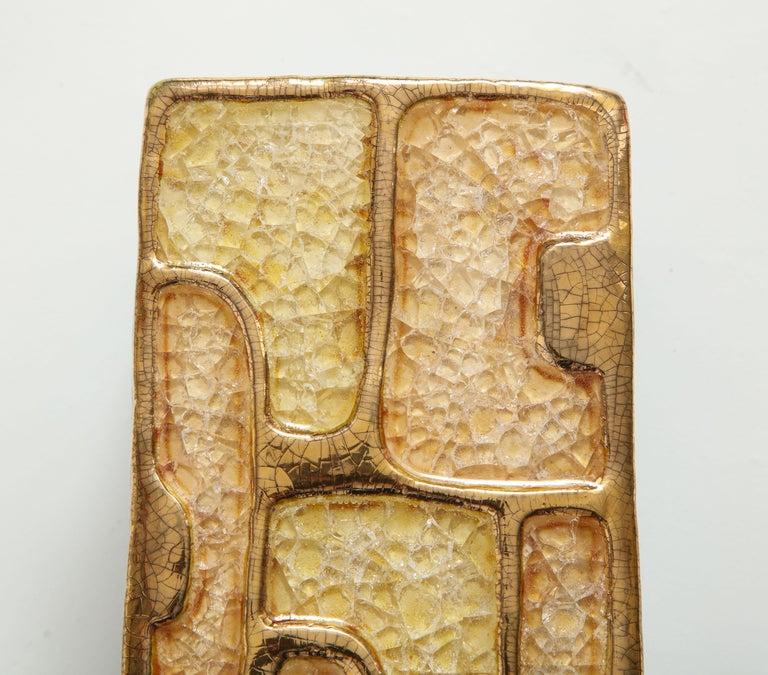Mid-20th Century Enamel Ceramic Jewel Box Gold Yellow Lembo Style Midcentury, France, 1960s For Sale