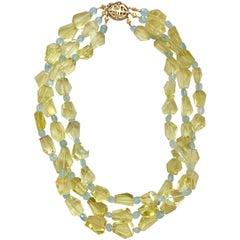 Lemon Citrine and Aquamarine Three Strand Necklace with 18 Karat Gold Clasp