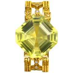 Lemon Citrine Diamond Gold Cocktail Ring One of a Kind